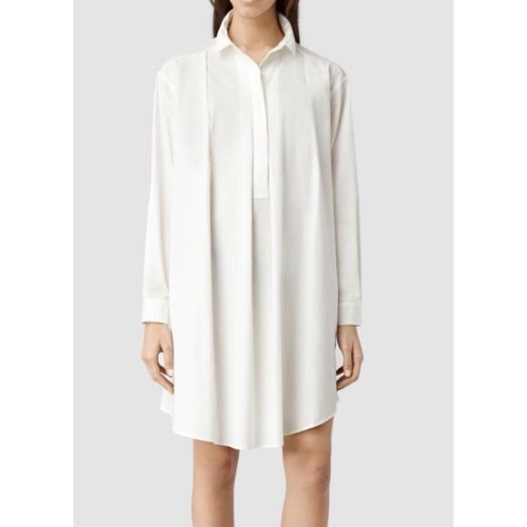 07af704d All Saints White Oversized Lana Shirt Dress